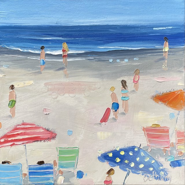 """Bethany Harper Williams   Red Orange and Blue Umbrellas   Oil on Canvas   12"""" X 12""""   $550.00"""