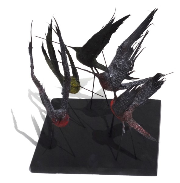 "James Rivington Pyne | Set of 5 Birds, Wings Up | Composite | 15"" X 14"" 
