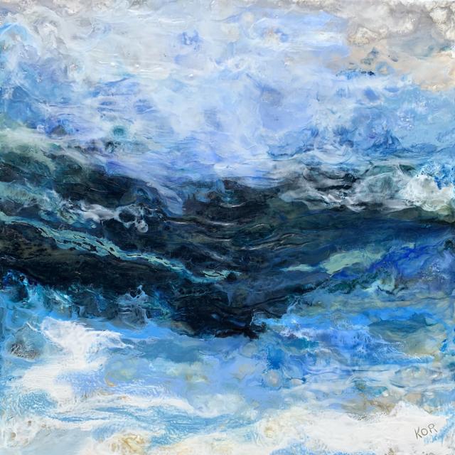 "Kathy Ostrander Roberts | Ocean Blues | Encaustic on Panel | 36"" X 36"" | $3,500.00"