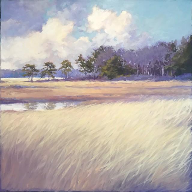 """Margaret Gerding   Winter on the Marsh   Oil on Canvas   40"""" X 40""""   Sold"""