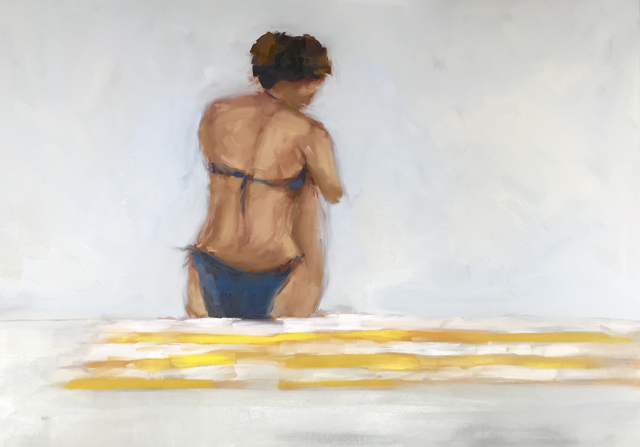 "Jill Matthews | Striped Towel | Oil on Canvas | 30"" X 40"" 