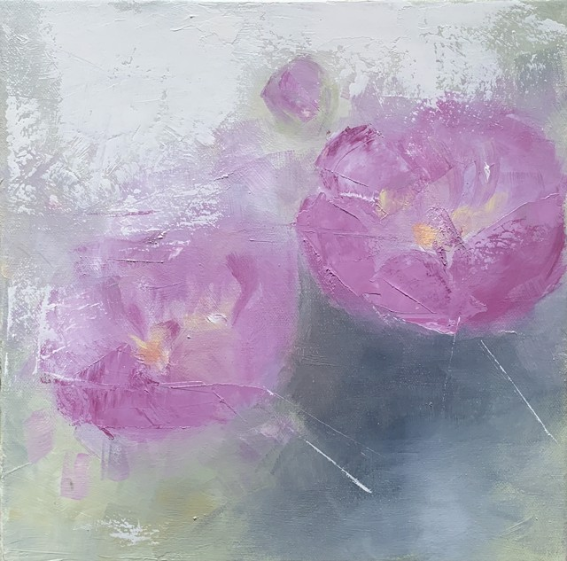 "Ingunn Milla Joergensen | Peonies 1 | Oil on Canvas | 12"" X 12"" 