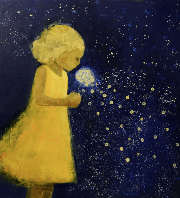 "Rebecca Kinkead | Wish (Starry Night) | Oil and Wax on Linen | 64"" X 58"" 
