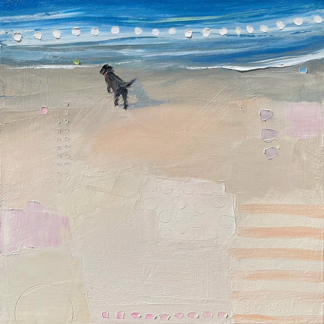 "Bethany Harper Williams   Black Dog White Waves   Oil on Canvas   16"" X 16""   $850.00"