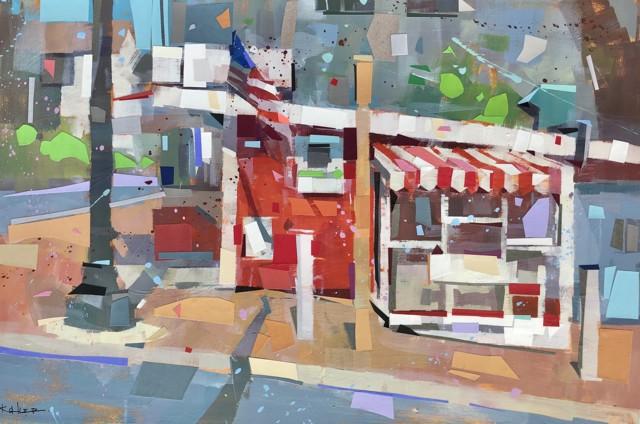 "Ryan Kohler | Red's Eats | Mixed Media on Canvas | 24"" X 36"" | Sold"