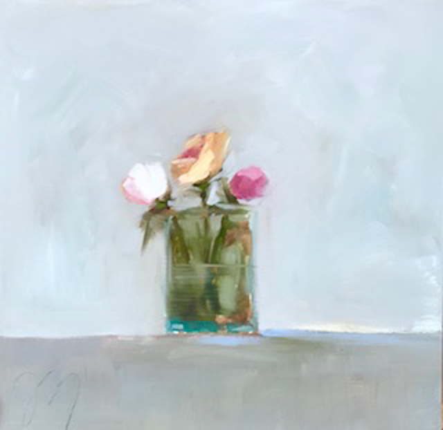 "Jill Matthews | Garden Roses | Oil on Canvas | 18"" X 18"" 