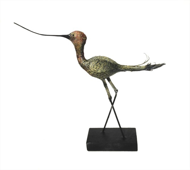 "James Rivington Pyne | Single Curlew | mixed media | 11"" X 12"" 