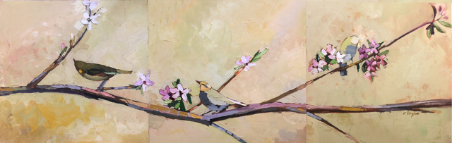 "Claire Bigbee | Spring Melodies - Triptych | Oil | 18"" X 54"" 