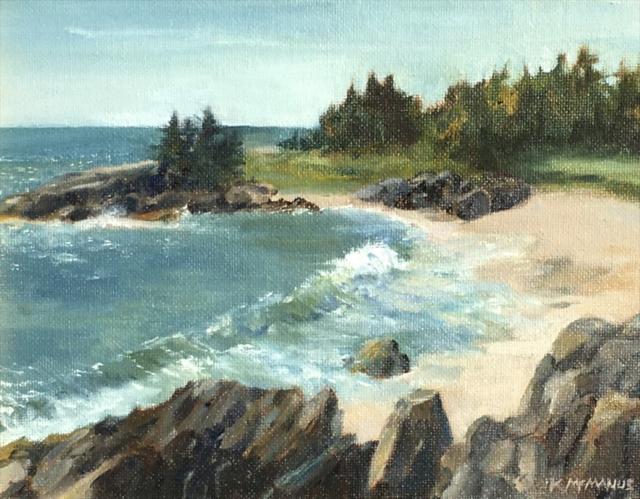 "Karen McManus | Windy Day at Sea Beach | Oil | 7"" X 9"" | Sold"