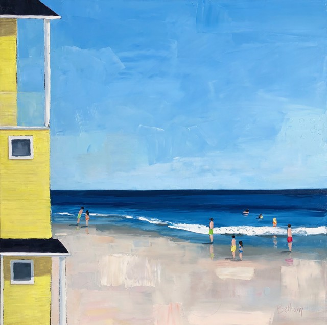 "Bethany Harper Williams | Sunny Beach House | Oil on Canvas | 40"" X 40"" 