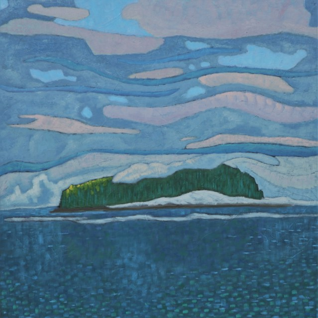 "R. Scott Baltz | Middle Island Movement | Oil on Panel | 24"" X 24"" | Sold"