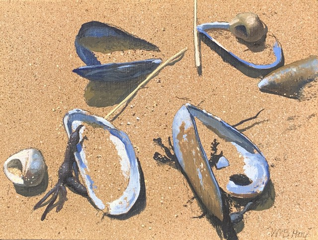 "William B. Hoyt | Mussels | Oil on Panel | 6"" X 8"" 