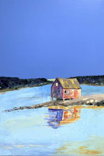 "Janis H. Sanders   Rock Shack   Oil on Panel   30"" X 20""   Sold"