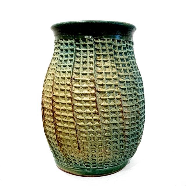 "Richard Winslow | Textured Vase in Green | Ceramic | 8"" X 5"" | $75.00"