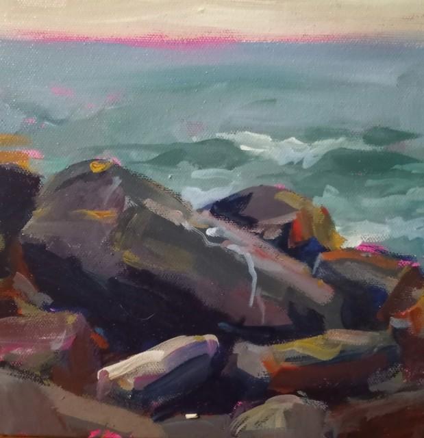 "Sandra L. Dunn | Monhegan Rocks, August 1 | Oil on Canvas | 8"" X 8"" | $400.00"