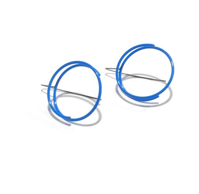 Powder Coated Earrings: Large Continuous Circle in Royal Blue