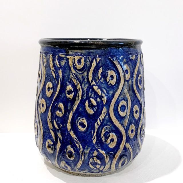 "Richard Winslow | Swirl Vase in Blue | Ceramic | 7"" X 5"" | $75.00"
