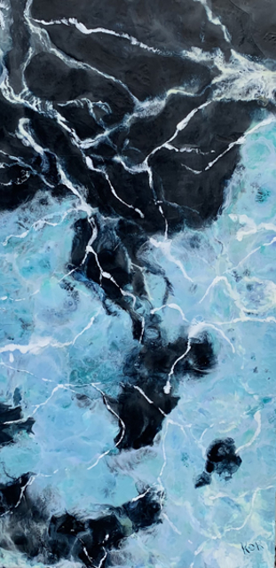 "Kathy Ostrander Roberts | Beneath Each Wave | Encaustic on Birch Panel | 48"" X 24"" | Sold"