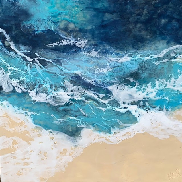 "Kathy Ostrander Roberts | Blue Water Ballad | Encaustic on Panel | 24"" X 24"" | Sold"
