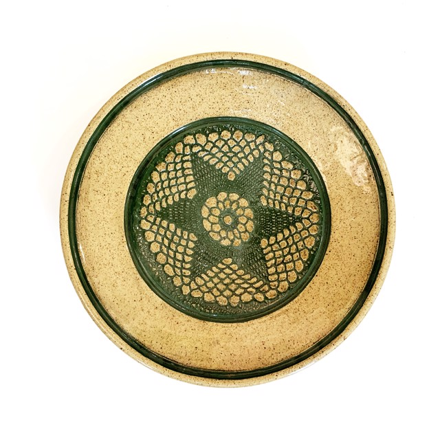 "Richard Winslow | Green Inlay Textured Dish | Ceramic | 2.5"" X 12.5"" | Sold"