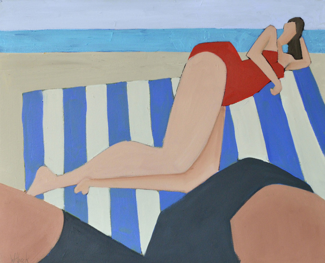 "David Witbeck | Beach Bather II | Oil on Paper | 21"" X 26"" 