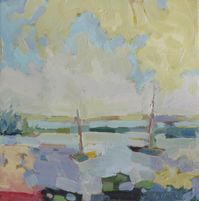 "Henry Isaacs | Beached Boats, Finistere | Oil on Canvas | 12"" X 12"" 