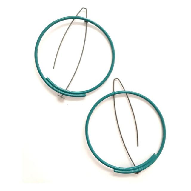 Powder Coated Earring: Medium-Large Circle in Teal