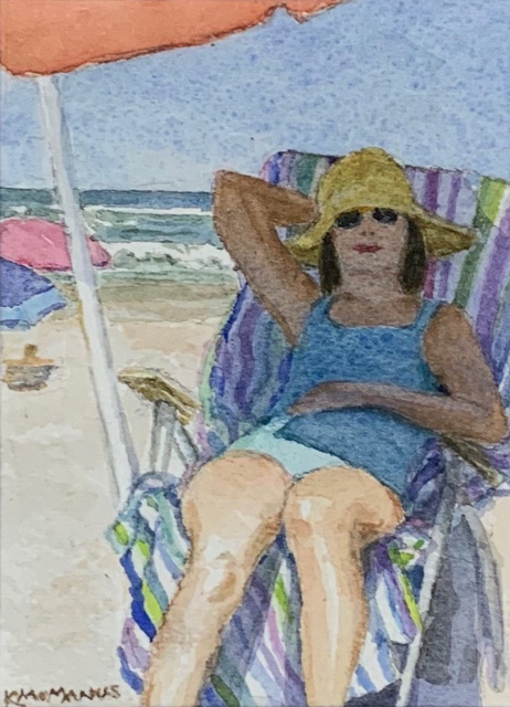"Karen McManus | Throwing Shade | Watercolor on Canvas | 4"" X 2.75"" 