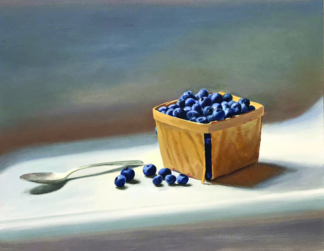 "William B. Hoyt | Blueberries and Silver Spoon - People's Choice | Oil on Panel | 11"" X 14"" 