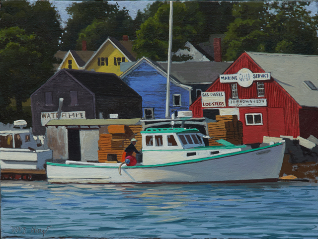 "William B. Hoyt | At the Dock - North Haven | Oil | 6"" X 8"" 