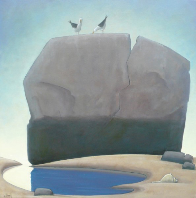 "David Witbeck | Split Rock with Whelk | Oil on Canvas | 36"" X 36"" 