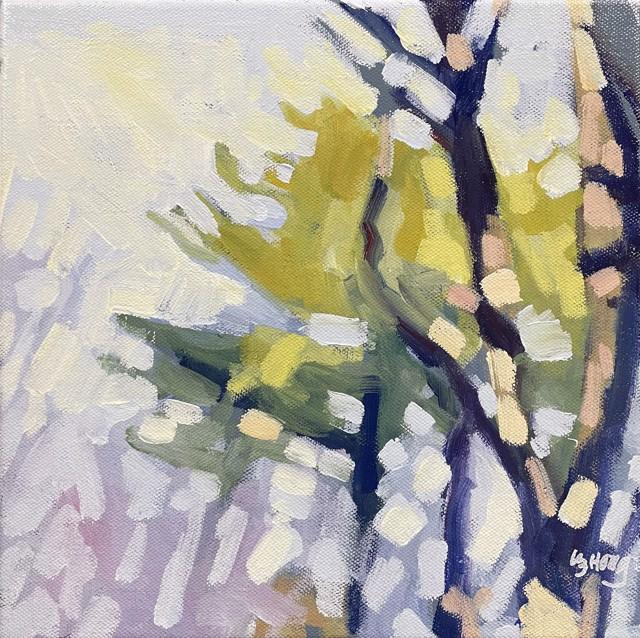 "Liz Hoag | Purple Woods | Acrylic on Canvas | 10"" X 10"" | Sold"