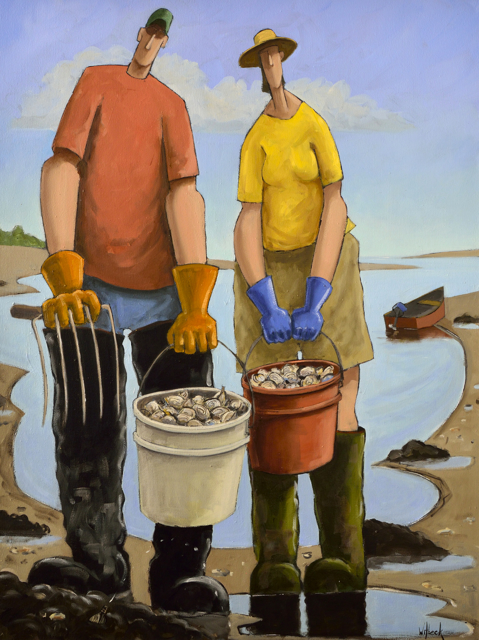 "David Witbeck | Clam Diggers II | Oil on Canvas | 40"" X 30"" 