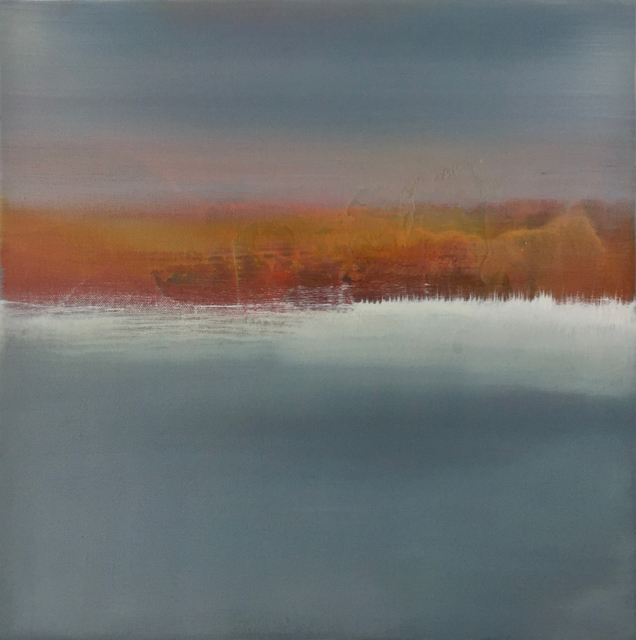"Charles Bluett | Across the Lake to the Trees | Acrylic on Canvas | 18"" X 18"" 