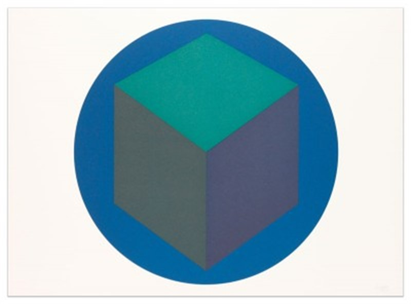 Centered Cube within a Blue Circle (1000/30), 1987