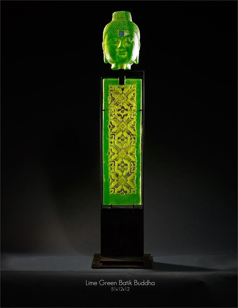 Lime Green Batik Buddha, 2019