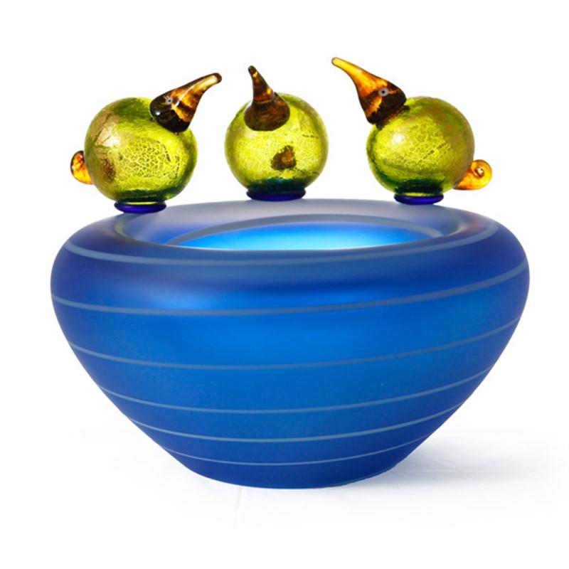 Pool Bowl w/ Birds Lime Green
