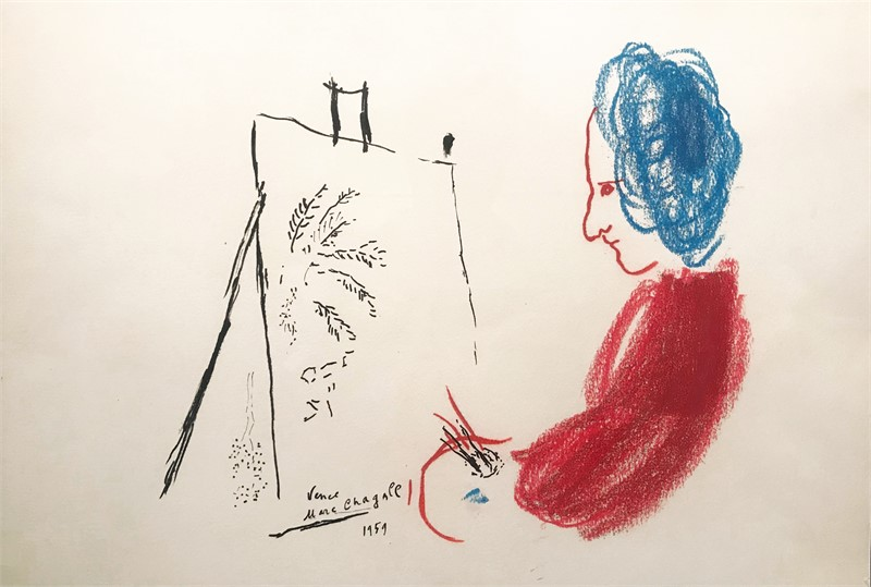 Le Peintre Rouge aux Cheveux Bleus, 1959