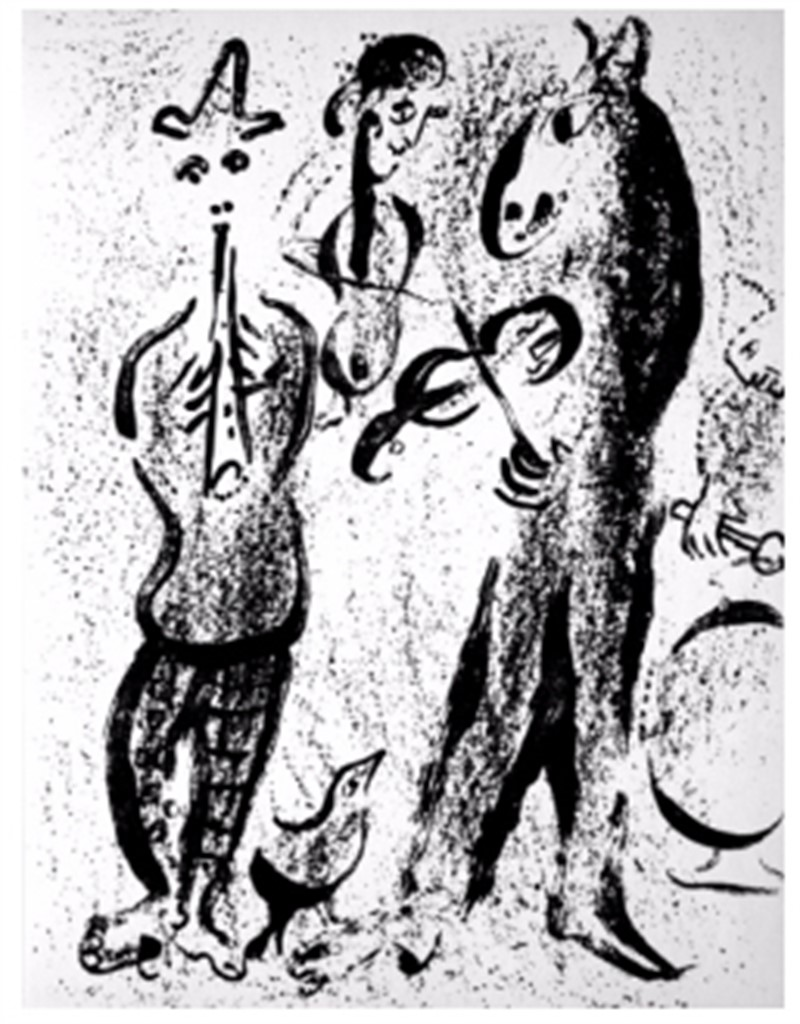 Itinerant Players from Chagall Lithographs I, 1960