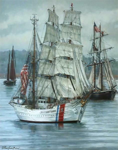 Ushering in Sail Boston 2017 is U.S. Coast Guard, The Eagle