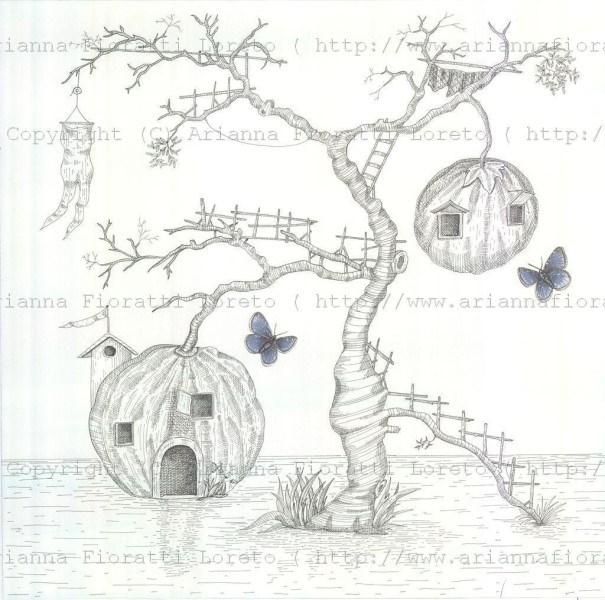 Pumpkin Treehouse with Butterflies