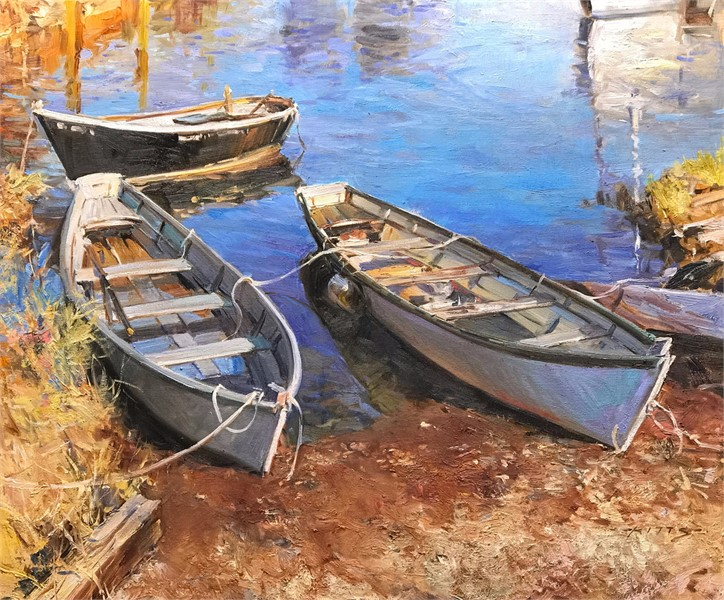 Three Boats Waiting for Low TIde