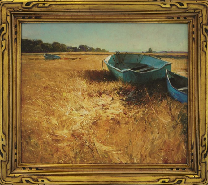 Blue Boats on Essex Marsh
