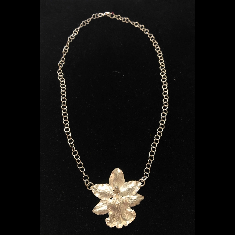 Large Single Sterling Silver Cast Orchid on Chain Necklace