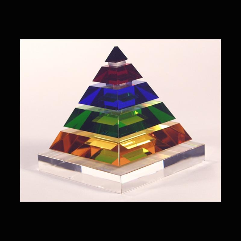 "Crystal Pyramid 5 1/4"" Tall x 4 3/4 Square-S"