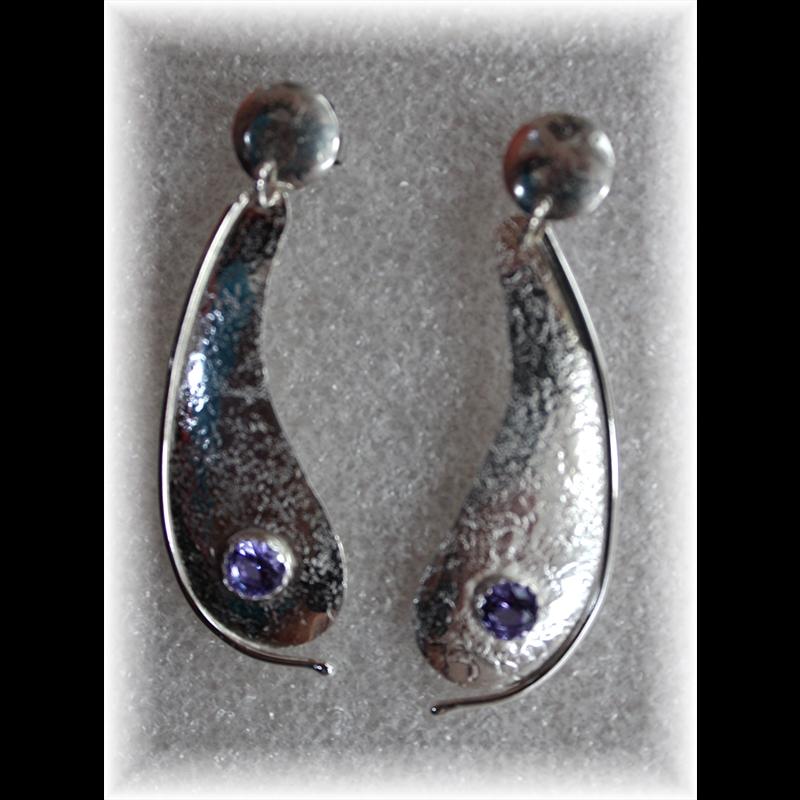 Mt. Saint Helen's-Twilight & Sterling Silver-Earrings, 5/1/18
