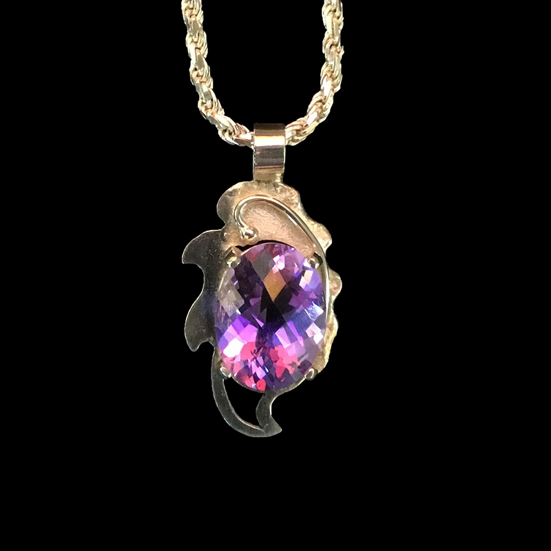 Mt Saint Helen's Twilight Large Pendant in Sterling Silver on Chain