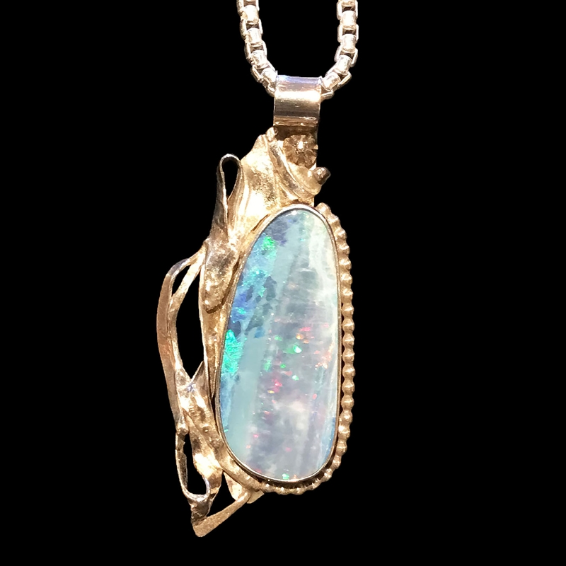 Australian Opal with pinfire & fused silver