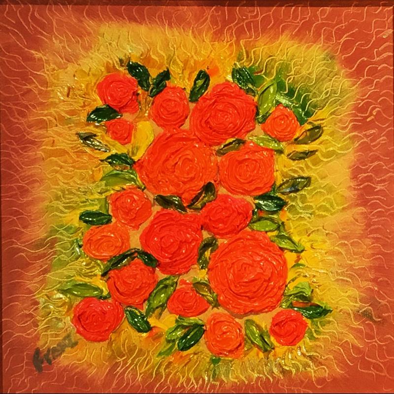 Coral Rosebud Impasto Oil Painting