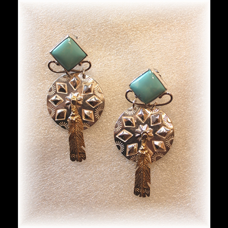 Sterling Silver Conchs w/Turquoise Earrings, 2018